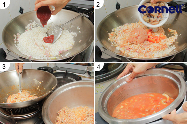 Tomato Rice with Steamed Crab  Step 1-4
