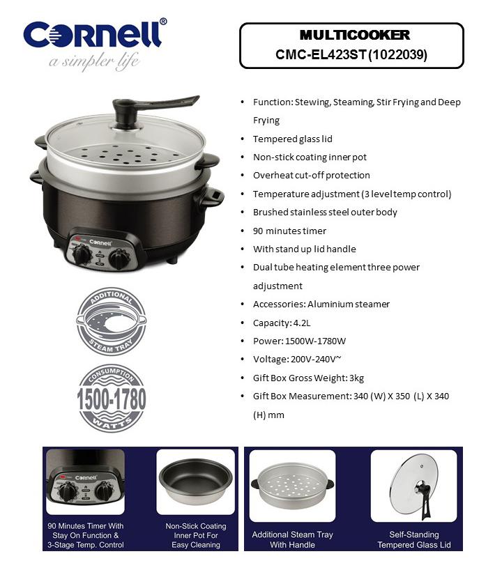 Cornell 4.2 Litre Multicooker CMC-EL423ST