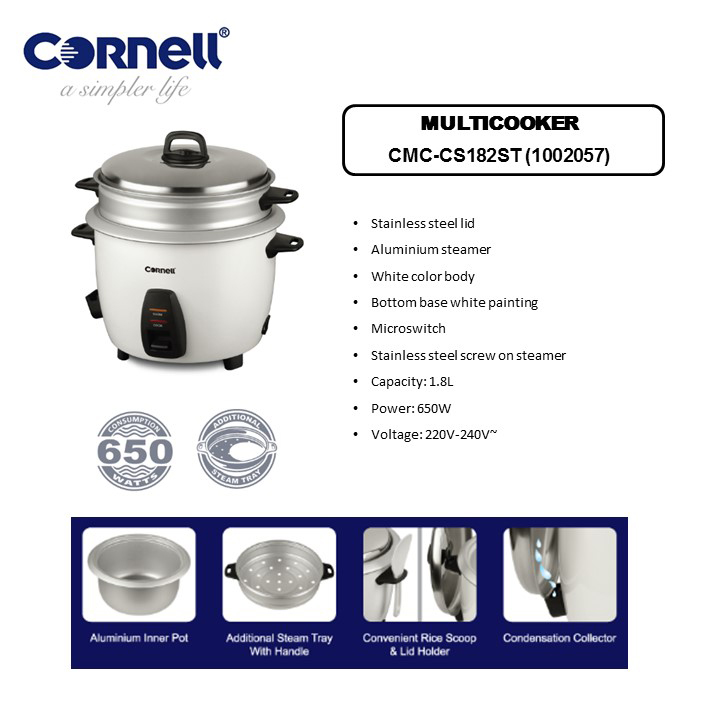 CRC-CS182ST Conventional Rice Cooker 1.8L