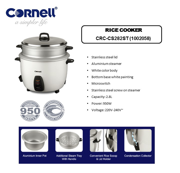 Cornell Conventional Rice Cooker 2.8 L CRC-CS282ST