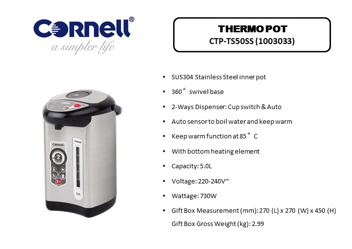 Cornell 5 Litre Thermo Pot CTP-TS50SS