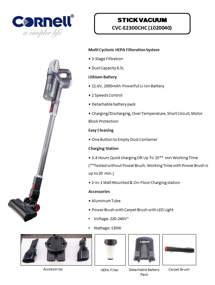 Cornell 2-In-1 Cordless Handheld & Stick Vacuum with Carpet Brush CVC-E2300CHC Brochure