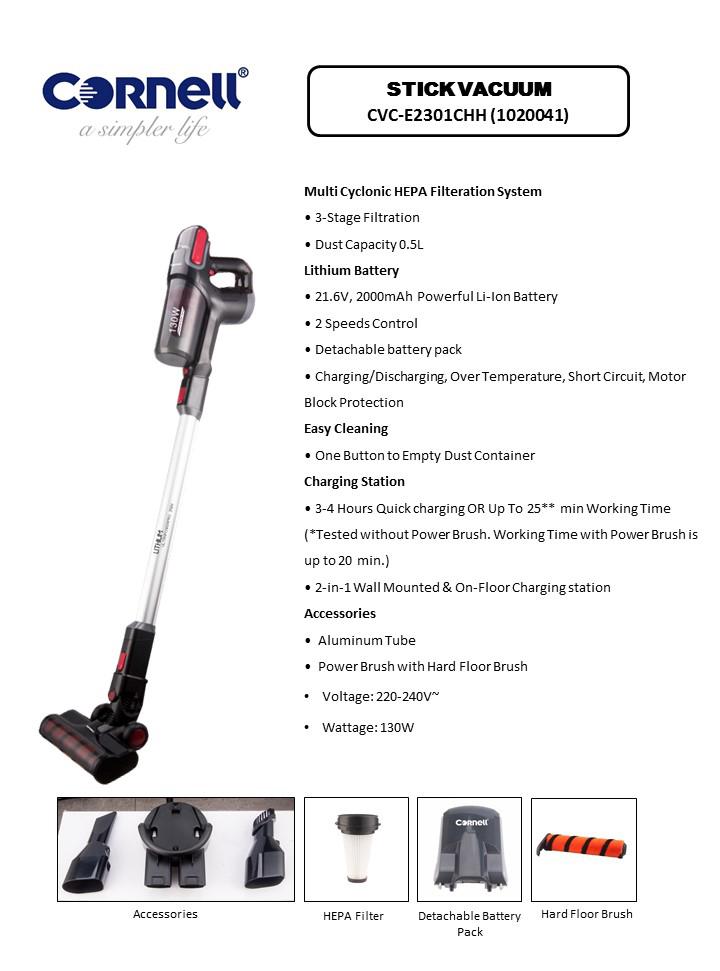 Cornell 2-In-1 Cordless Handheld & Stick Vacuum with Hard Floor Brush CVC-E2301CHH